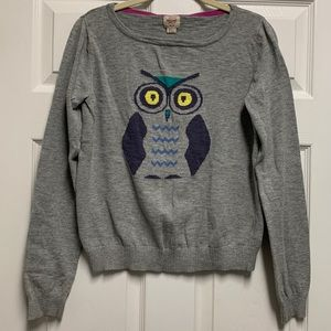Heather Gray Knit Sweater with Owl Design